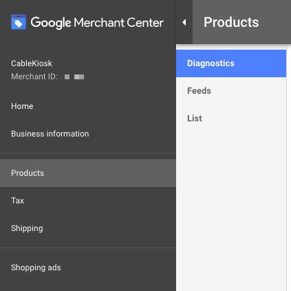 Google Merchant Center Diagnostics