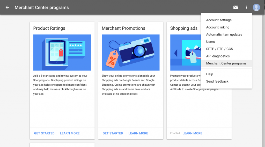 Google Merchant Center Programs